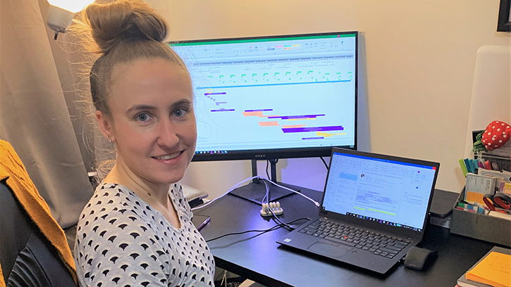 Karleigh Blum, an R&D strategy and planning intern, works from her Manhattan apartment.