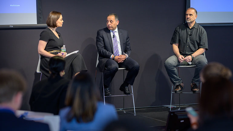 Bristol-Myers Squibb's Head of U.S. Medical, Awny Farajallah, and Regeneron's Chief Scientific Officer, George Yancopoulos at Panel Discussion with CNBC television reporter Meg Tirrell