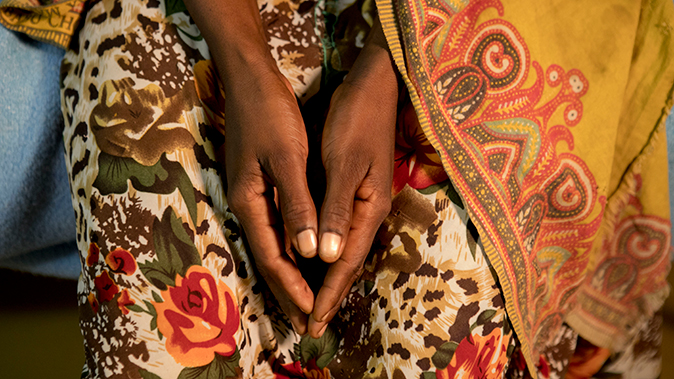 Picture of a woman's hands in her lap