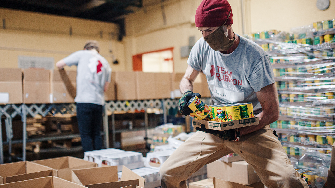 The COVID-19 Emergency Food Assistance Program leverages Team Rubicon's national network of volunteers to support immunocompromised patients who are unable to access food.