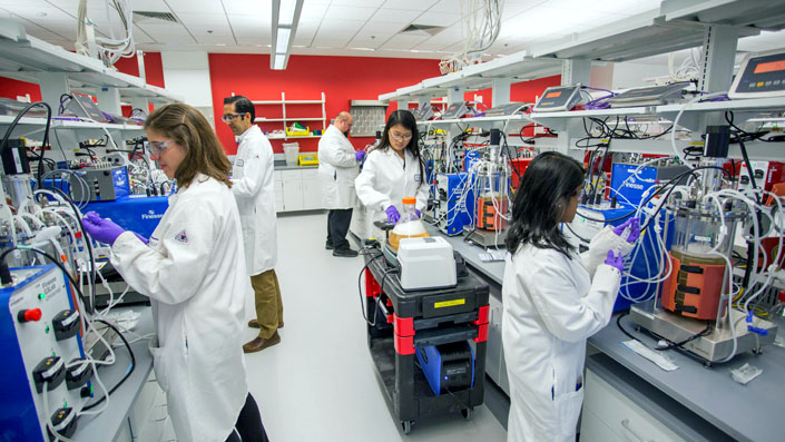 Researchers at our facility in Devens, Massachusetts, develop biologics.